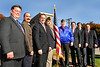 L-R Lynbrook Trustees William J. Hendrick and Richard J. Clifford, Mayor Brian Curran, Pat Cardone, VFW #2307 Commander, Cpl. Henry Speicher, VFW 32307, County Legislature Francis X. Becker, Jr., Lynbrook Trustee Alan C. Beach, and Former Lynbrook Mayor Alex Geier. Photo by Kathy Leistner