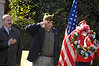 L-R Pat Cardone, Commander VFW Post #2307 salutes to the left,  Lynbrook Trustee Richard C. Clifford. Lynbrook Mayor Brian Curran. Mayor Curran gave a heartfelt reminder that should never forget those who served our country. Lynbrook Veteran's Memorial Day Service, November 11th, 11 am, 2007.  Photo by Kathy Leistner