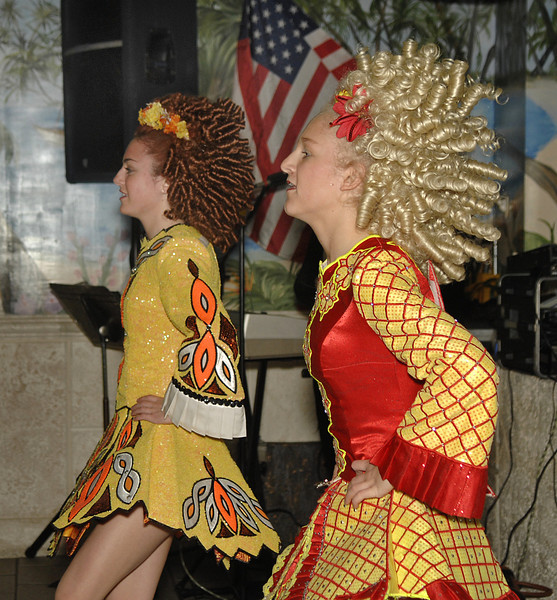 L-R, Hagen School of Irish Dance, Irish Step Dancers, Laura Romig, LBHS 12th grade and sister Shannon Romig, 7th grade, Long Beach. March 18th, Billy's Beach Cafe, Lion's Club St. Patrick's Day Luncheon.  Photo by Kathy Leistner