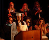 Valedictorian Brittany Failla finishes her address to the Class of 2007 with tears in her eyes. Photo by Kathy Leistner