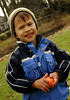 Jake Vicari, 3, of W. Hempstead, holds one of his found eggs. March 7th, Hall's Pond Park Lion's Club Egg Hunt. Photo by Kathy Leistner.