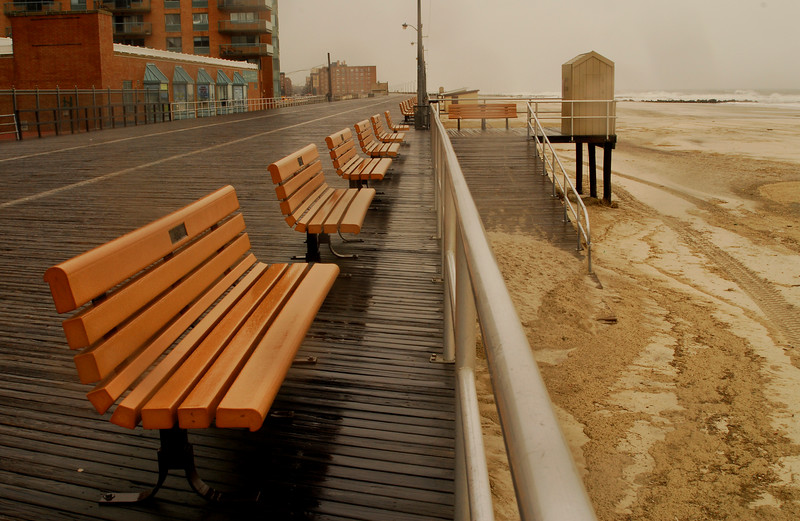 Long Beach Boardwalk, Monday, April 16th, 2007, about 11 am, three hours after high tide. Photo by Kathy Leistner