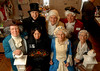 L-R Front, Mary Todd Lincoln (Valerie Esposito), Martha Washington (Ruthanne Zwarico).<br /> L-R Back, Benjamin Franklin (Walter Harrod, Abraham Lincoln (Gabe Parrish), George Washington (William Vivenzio), General Lafayette (Bob Presby), and Betsy Ross ( Marge Chvatal). House decorated for the holiday by Valerie Esposito. Pagan-Fletcher Restoration. CIrca 1840's. February 18th, 2007. President's Day Celebration. Photo by Kathy Leistner