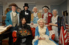 L-R Front, Mary Todd Lincoln (Valerie Esposito), Martha Washington (Ruthanne Zwarico).<br /> L-R Back, Benjamin Franklin (Walter Harrod, Abraham Lincoln (Gabe Parrish), George Washington (William Vivenzio), General Lafayette (Bob Presby), and Betsy Ross ( Marge Chvatal). Pagan-Fletcher Restoration. CIrca 1840's. February 18th, 2007. President's Day Celebration. Photo by Kathy Leistner