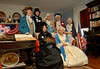 L-R Front, Mary Todd Lincoln (Valerie Esposito), Martha Washington (Ruthanne Zwarico).<br /> L-R Back, Benjamin Franklin (Walter Harrod, Abraham Lincoln (Gabe Parrish), George Washington (William Vivenzio), General Lafayette (Bob Presby), and Betsy Ross ( Marge Chvatal). The Fairchild Room decorated for the holiday by Valerie Esposito. Pagan-Fletcher Restoration. CIrca 1840's. February 18th, 2007. President's Day Celebration. Photo by Kathy Leistner
