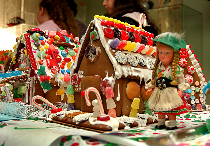 L-R, Marge Chavatal and Karen Selah with winning Gingerbread House - The Girl Scout Express. Gingerbread House Contest and Bake Sale, December 3rd, Pagan- Fletcher Restoration, Photo by Kathy Leistner