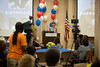 Holy Name Medical Center volunteer and veteran Herand Kafafian celebrated his 100th birthday at Holy Name Medical Center on September 5, 2018. <br /> <br /> Heron served the US Army as a photographer from 1942-1945 stationed in the Philippines. He was awarded the Purple Heart for injuries in the invasion of Leyte, under the command of General Douglas MacArthur.<br /> Pictured Kristen Silberstein<br /> Vice President of Patient Engagement & Chief Experience Officer of Holy Name Medical Center saying a few words at the microphone.