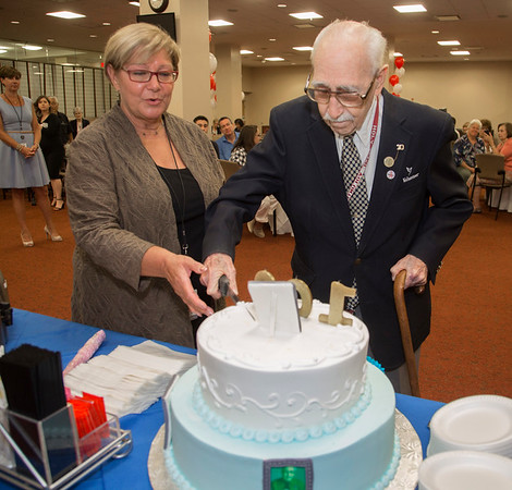 Holy Name Medical Center volunteer and veteran Herand Kafafian celebrated his 100th birthday at Holy Name Medical Center on September 5, 2018. <br /> <br /> Heron served the US Army as a photographer from 1942-1945 stationed in the Philippines. He was awarded the Purple Heart for injuries in the invasion of Leyte, under the command of General Douglas MacArthur.<br /> Pictured L to R is Marie Berthou, Manager of Volunteer Services of Holy Name Medical Center with Herand Kafafian
