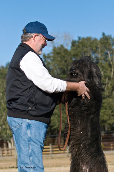 Jim Holmes and Lorilei, a Briard, share a special moment after working in the sheep pen