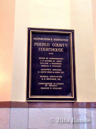 Plaque inside courthouse