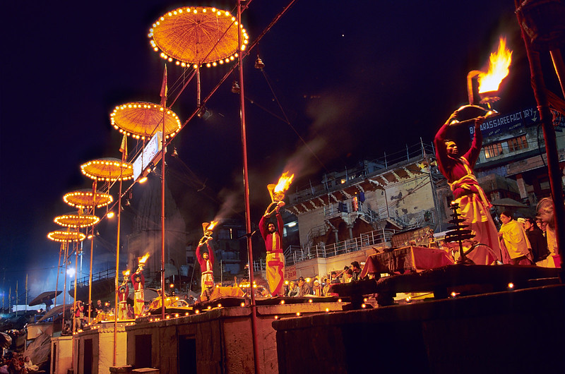 Ceremony by the Ganges, Varanasi. India.