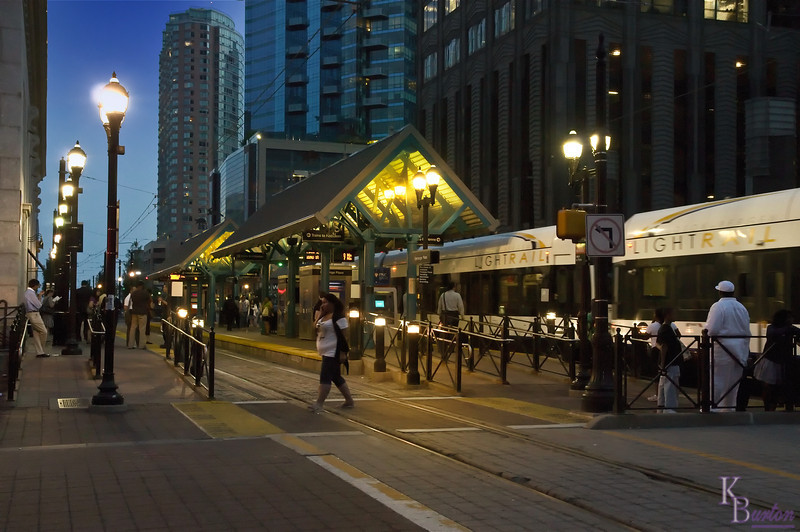 As quaint as they look during the day, the Jersey City light rail staions look even better at twilight.