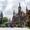 This is the main entrance to the Green-Wood cemetery. Near the top of the center steeple is a massive parakeet's nest. I photographed a parakeet lat year at the botanical gardens a few blocks away from here and wondered where the heck it came from. now I know.