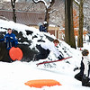 I was walking through snowy Central Park during the 2nd of the two February blizzards this year, searching for a potential location that would be ideal for  some future shots I want to capture, when I came upon this scene of children at play in this winter wonderland. People of all types stopped to take pictures of them, professional and amateur alike, using everything from top of the line camera's to cellphones. The scene was so charming, I decided to take a break from my scouting quest to join them in the picture taking fun. Days like this keep you young.