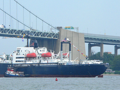SUNY Maritime College ship, TS Empire State VI, returns to port.