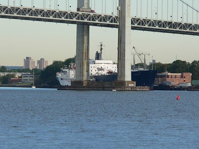 SUNY Maritime College ship, the Empire State, docked under the Throgs Neck Bridge in the Bronx, NY. Full 432mm zoom.