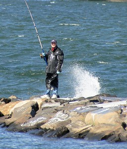 October fishing on the jetty.