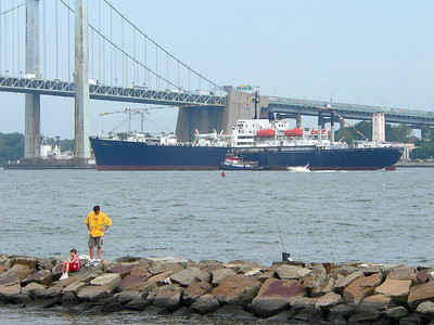 The SUNY Maritime College training ship, TS Empire State VI, returns from 65 days at sea. She will dock at the school next to the Throgs Neck Bridge. 7/20/06.