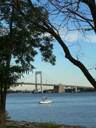 Sailboat and Throgs Neck Bridge.