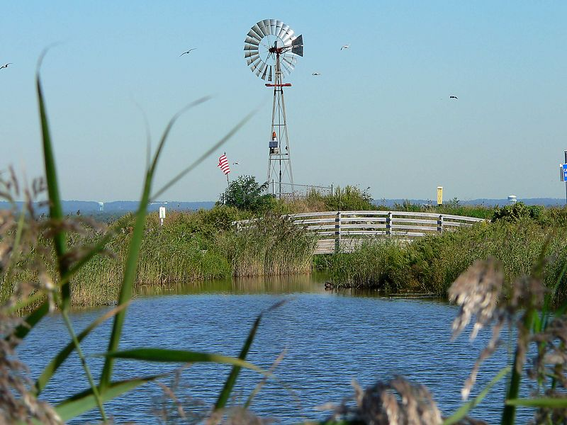 This windmill aerates the rain water in the large pond on top of the hill.
