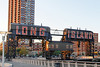 Gantry Plaza SP on the East River waterfront in Long Island City, Queens, NY. An old Long Island RR barge transfer facility converted to a park as part of the East River waterfront gentrification.