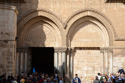 Entrance into the Church of the Holy Sepulchre. Jerusalem.