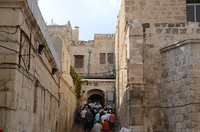 Route through the Old City of Jerusalem leading to the Church of the Holy Sepulchre.
