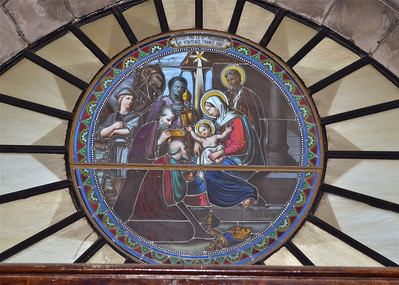 Stain glass inside the Church of St Catherine, Bethlehem.