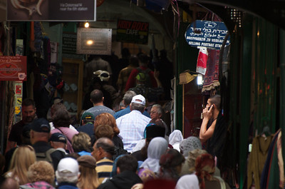 Crowds in the Old City of Jerusalem.