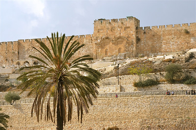 Outside Wall of the Old City Jerusalem.