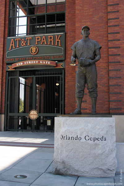 AT&T Park - Home of the San Francisco Giants  Orlando Manuel Cepeda Pennes was born in Puerto Rico and  joined the San Francisco Giants as a rookie in 1958 and was selected to the All-Rookie Team.  He batted .307 in his seven seasons as a Giant and led the National League in homers (46) and RBIs (142) in 1961.  He was selected to the 1963 All-Star Team.  He played 17 years in the major leagues with a .297 batting average and an MVP award in 1967 with the St. Louis Cardinals.  He was enshrined in the Bay Area Sports Hall of Fame in 1990.