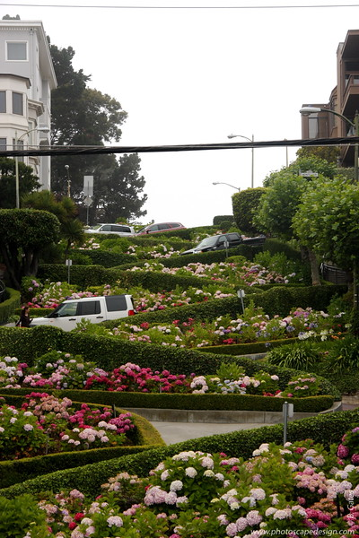 "Lombard Street  Lombard Street is best known for the one-way section on Russian Hill between Hyde and Leavenworth Streets in which the roadway has eight sharp turns (or switchbacks) that have earned the street the distinction of being ""the crookedest [most winding] street in the world."" The switchbacks' design, first suggested by property owner Carl Henry and instituted in 1922 was born out of necessity in order to reduce the hill's natural 27% grade, which was too steep for most vehicles to climb.   It is also a serious hazard to pedestrians, who are accustomed to a more reasonable sixteen-degree incline. The crooked section of the street, which is about 1/4 mile (400 m) long, is reserved for one-way traffic traveling east (downhill) and is paved with red bricks. The speed limit in this section is a mere 5 mph (8 km/h).  In the 1950s, the street was gardened by a Frenchmen who owned the Bercut meat market."