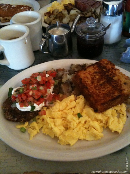 Breakfast at Dottie's True Blue Cafe  Now, that's a breakfast!
