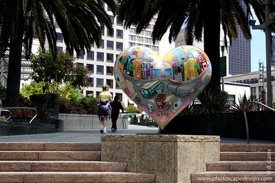 "Union Square  Hearts in San Francisco was a Bay Area-wide ""heart installation"" that debuted in the spring of 2004. While similar to Chicago's ""Cows on Parade,"" the San Francisco version used a heart icon, appropriate for a city that is recognized for its acceptance and tolerance, as well as being perennially open-hearted.  Over 130 recognized and emerging artists transformed heart sculptures into unique works of art. These hearts were installed on sidewalks, plazas, parks, and street corners throughout the San Francisco Bay Area. On February 14, 2004, the first two Hearts were unveiled in a kick-off event in Union Square."