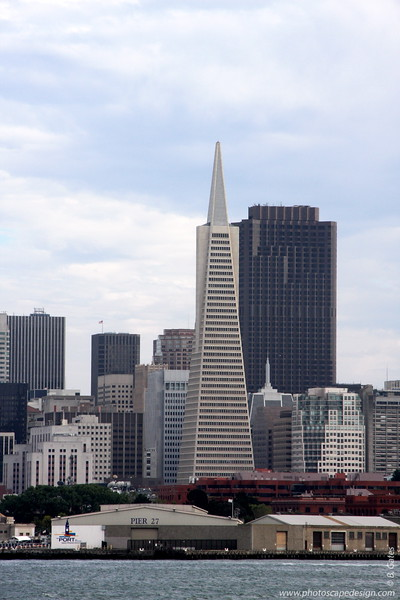 Transamerica Pyramid  [D]  This is the tallest and most recognizable skyscraper in the San Francisco skyline.  Although the building no longer houses the headquarters of the Transamerica Corporation, it is still strongly associated with the company and is depicted in the company's logo.  Designed by architect William Pereira, at a height of 260 m (853 feet), it is currently tied for 105th tallest building in the world.