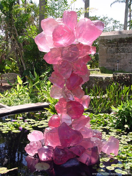 Chihuly at Fairchild - Fairchild Tropical Botanic Garden - Coral Gables - Pink Crystal Tower in front of the Amphitheater (April 14, 2006)