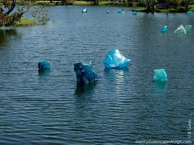 Chihuly at Fairchild - Fairchild Tropical Botanic Garden - Coral Gables - Blue Polyvitro Crystals in Pandanus Lake (April 14, 2006)