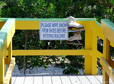 Humorous sign in front of the Sanibel Chamber of Commerce (April 7, 2006)
