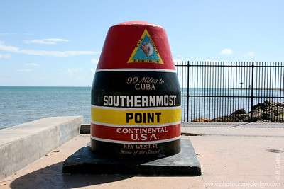 Key West (June 4, 2008)  Southernmost Point  The marker, actually built to resemble a buoy, stands at the furthest south tip of Key West.   The monument notes that Cuba is only 90 miles away.    On the top of the monument is painted the logo of The Conch Republic. Twenty years ago, Key West, seeking to enhance its reputation as a free-wheeling, fun-loving, party without consequence kind of town, seceded from the United States, declaring itself The Conch Republic. Every April, a ten-day party celebrates the event. If that's the case, and Key West no longer considers itself to be part of the United States, then the Southernmost Point in the United States would actually be one key up, in Boca Chica.  :)