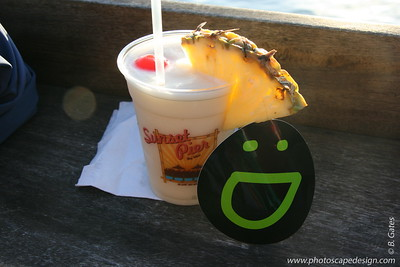 Smuggy watching the sunset with a cool beverage (Pina Colada doncha know!) at Mallory Square in Key West.