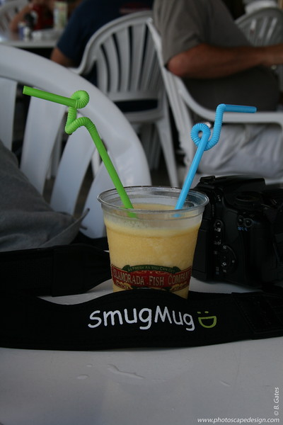 Smuggy in Islamorada (one of the Florida Keys) having lunch and another cold beverage.  Hmm, wonder what it could be.