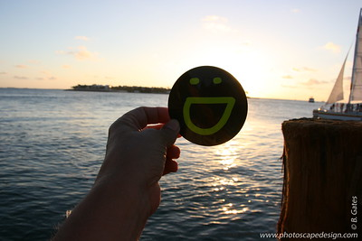 Smuggy with a big smile as the sun sets on Key West.