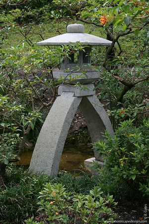 The Morikami Japanese Gardens - Delray Beach (May 31, 2008) [D]  Modern Romantic Garden (Kindai Teien) (Meiji Period, late 19th-early 20th century)  This is a long-legged kotoji lantern mimicking the shape of a movable part of the Japanese stringed instrument called koto.