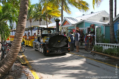The Conch Tour Train coming down through Lazy Way Shoppes