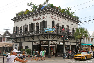 The Bull, Whistle Bar, and Garden of Eden  The Bull and Whistle Bar, located on the corner of Duval and Caroline Streets is the oldest and last of the old-time Duval open air bars in Old Town Key West.  The Whistle Bar, which is just above The Bull, is the perfect spot to observe Old Town Key West from above while sipping a tropical beverage.  The Garden of Eden located on the rooftop of The Bull and Whistle Bar is Duval Street's only clothing optional bar.