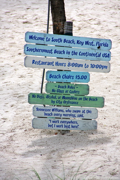 Sign on the Private Beach of the Southernmost Collection  [D]