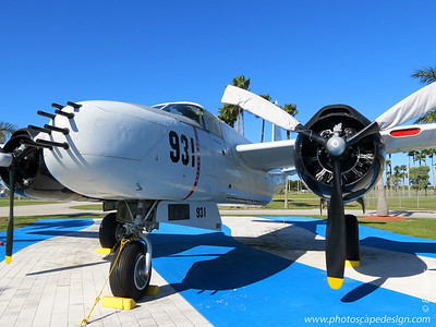 "Restored B-26 Fighter-Bomber - Replica of the Aircraft used by the Liberation Air Force, Fuerza Aérea de Liberación and Monument dedicated to Pilots  The Douglas B-26 Invader was restored as ship No. 931. It was flown by Gustavo ""Gus"" Ponzoa with navigator Rafael Gárcia Pujol.    The Douglas A-26/B-26 bomber was the only American bomber to fly missions in three wars. After World War II, it served as a first-line bomber during the Korean War and during the Vietnam War. Douglas started the A-26 in 1941 to follow the A-20/DB-7 Havoc bomber.    Douglas built 2,503 A-26/B-26 Invaders. During production, a number of modifications were progressively introduced so that by 1948, the A-26 was one of the few wartime aircraft types still in service with the post-war U.S. Air Force. When the famous Martin B-26 Marauder retired and the Air Force deleted the designation ""A"" (for attack category), the Douglas Invader took on the B-26 designation."