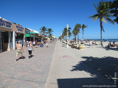 Hollywood Beach Broadwalk  Along the Broadwalk, you can stroll, walk, run, bike, or rollerblade. A separate bike path gives Hollywood Beach bikers a mostly uninterrupted ride with the exception of the occasional walker who strays from the bricklined pedestrian walkway and doesn't realize the white sidewalk is a bike path.  A word of caution - I unknowingly ventured into the bike path a couple of times and the cyclists were not very happy about it!!!!  Built in the 1920s and now lovingly renovated, this seaside pedestrian pathway bordered by restaurants and lodgings has been called one of the Top 10 Nostalgic Promenades by USA Today.  It is a 2.5-mile-long pedestrian promenade and is a mere four steps from the beach's western edge.  On the beach, you'll find six miles of fun. Cabanas and beach chair rentals are available.