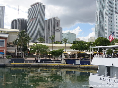 Miami Skyline and Bayside Marketplace  View from the Island Queen