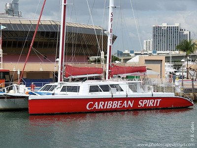 "Caribbean Spirit Party Catamaran  The ""Caribbean Spirit"" is the largest day sailing catamaran in North America at 78 feet long and 35 feet wide."